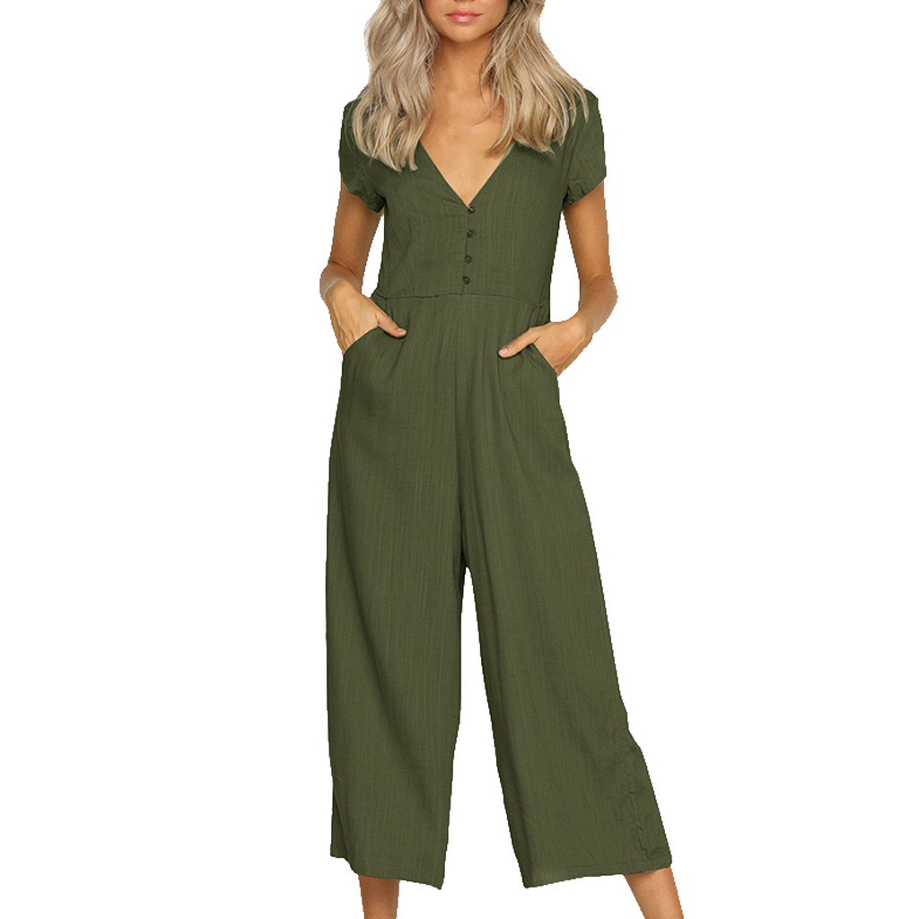 lovever Womens Fashion Casual Casual O Neck Loose Wide Legs Jumpsuits