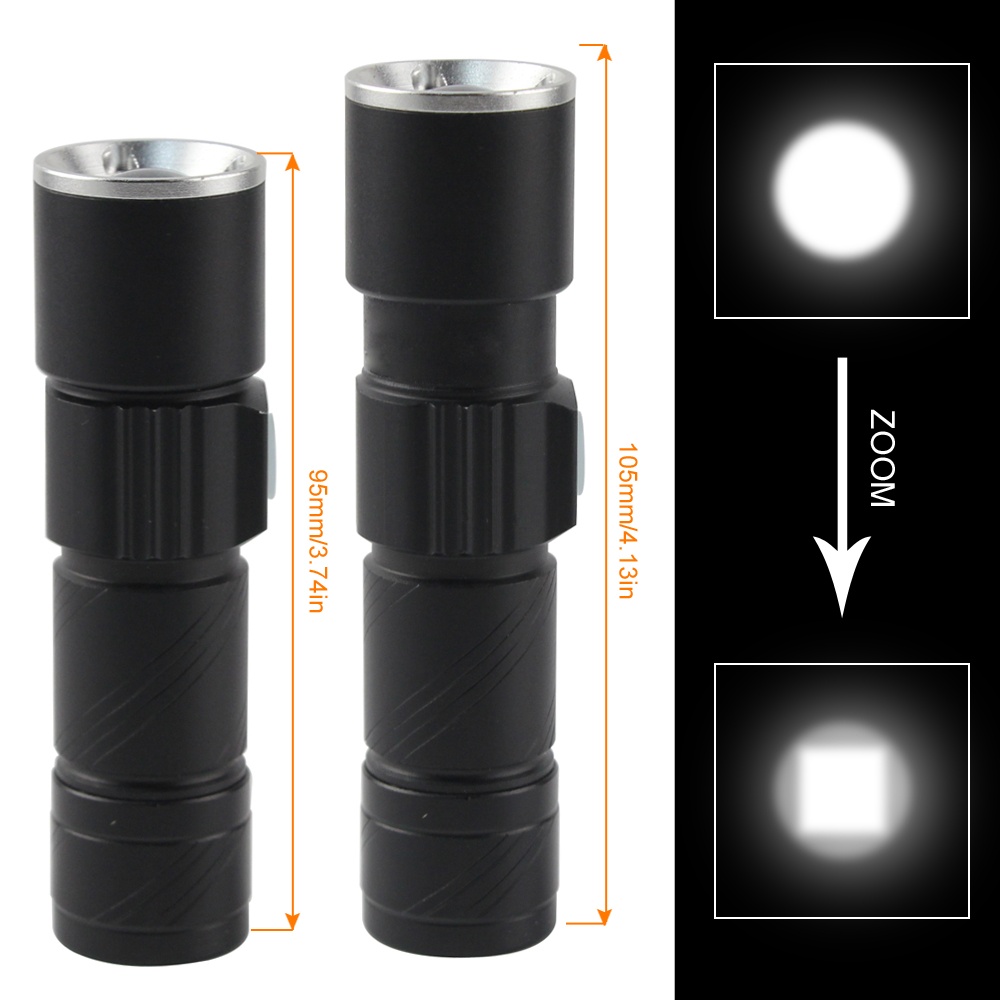 BORUIT 2000LM Q5 LED Flashlight Rechargeable Powerful Torch USB Handy Pocket Zoomable Flash Light For Hunting Black Flashlamp