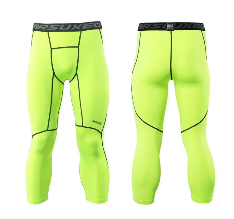 Meggings - leggings pour homme coupe 3/4 pantacourt de sport gym yoga vert fluo, vue de face et de dos