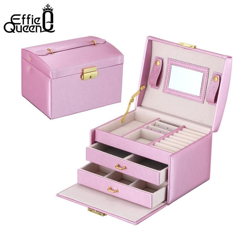 Effie Queen Large Capacity Jewelry Box Make Up Cosmetics Storage Box Dresser Desktop Cosmetic Makeup Organizer SO01 mengxilu pu leather cosmetics bag large capacity pattern storage box make up makeup box women ladies cosmetic vanity case box