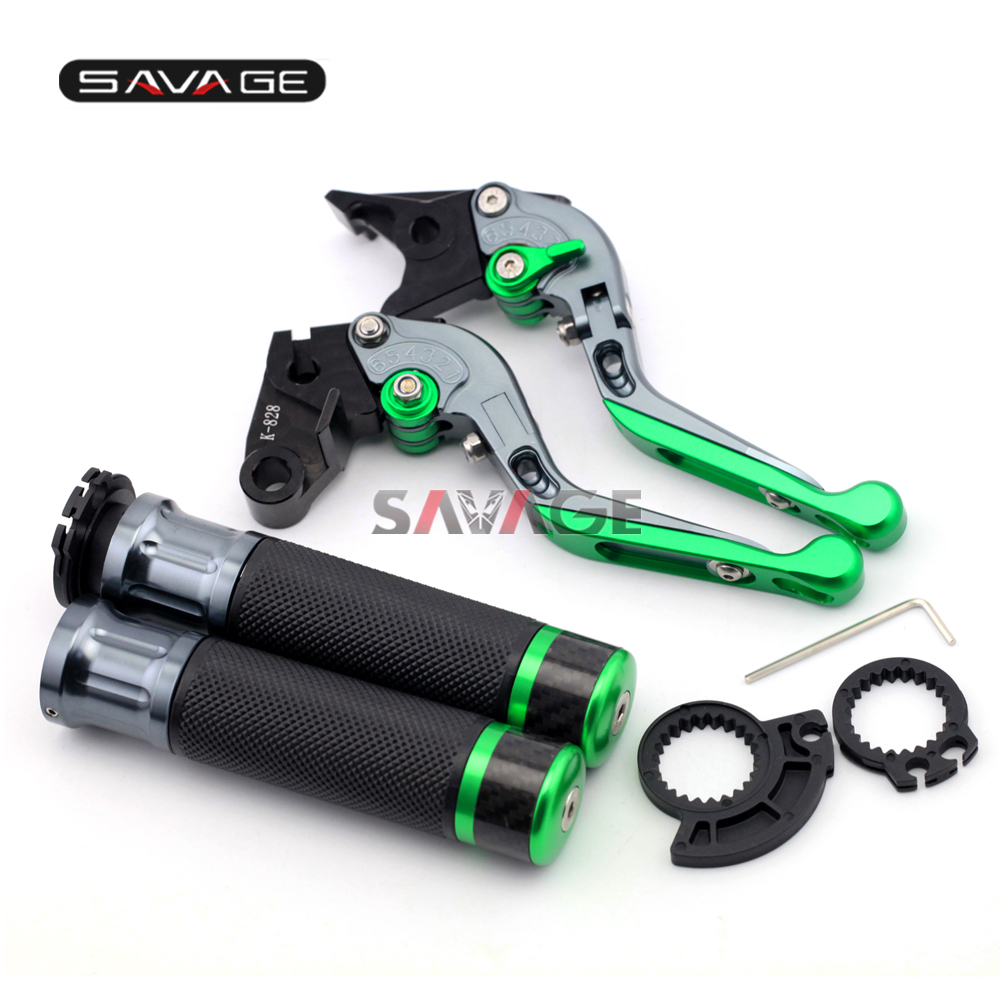 For KAWASAKI EX250R/NINJA 250/NINJA300/Z125/Z250/Z300 Motocycle Adjustable Folding Brake Clutch Levers Handlebar Hand Grips for kawasaki ninja 250 ninja250 2008 2015 ninja 300 ninja300 2013 2015 motorcycle aluminum short brake clutch levers black
