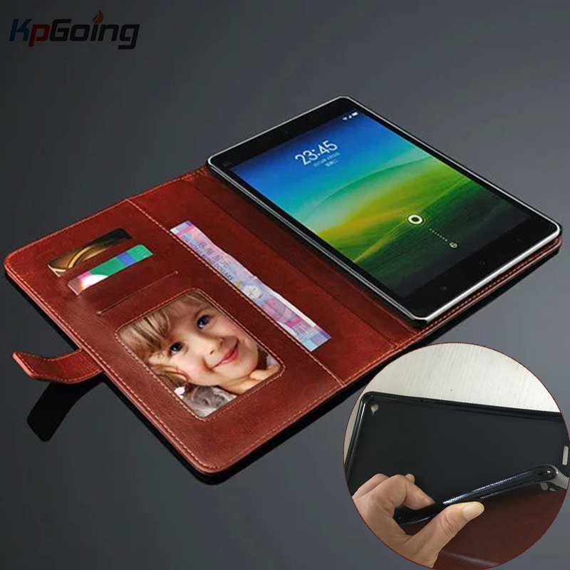 KpGoing For Xiaomi Mi Pad 3 Case Cover PU Leather + Silicone TPU Flip Wallet Card Slot Stand Tablet Cover for Xiaomi Mi Pad 2