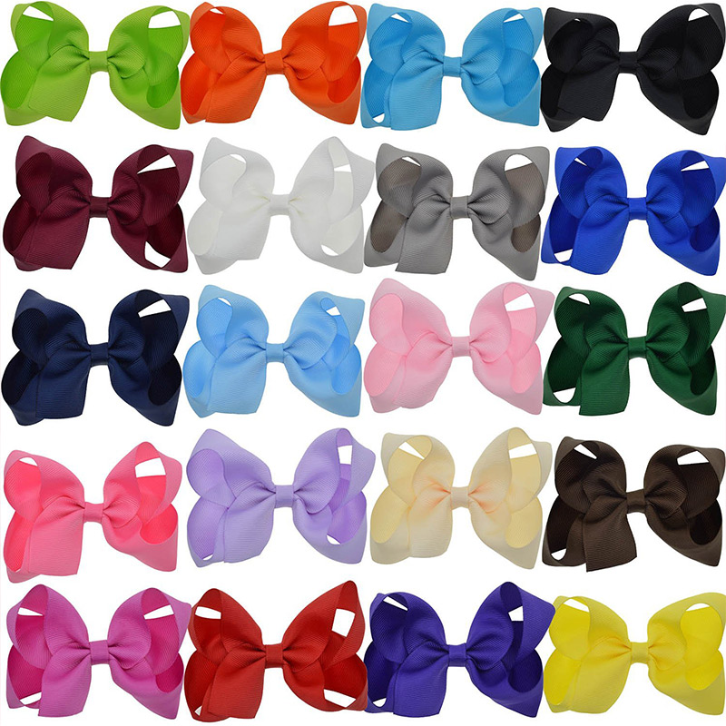 20PCS/Set 4 inch Solid Fashion Bows for Kids Child Girls Barrettes Ribbon Hair Clips Flower Girl Hair Accessories Drop Shipping