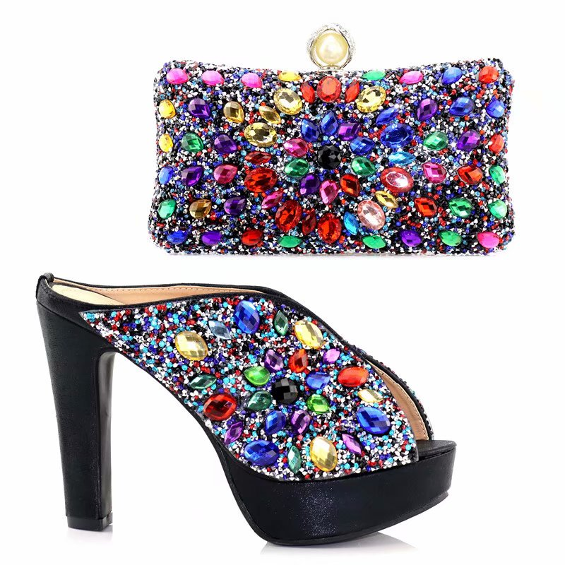 2018 Newest Classic Black Color Very beautiful African Women Shoes And Bag Set With More multicolored crystals For Evening Party shoes and more сандалии