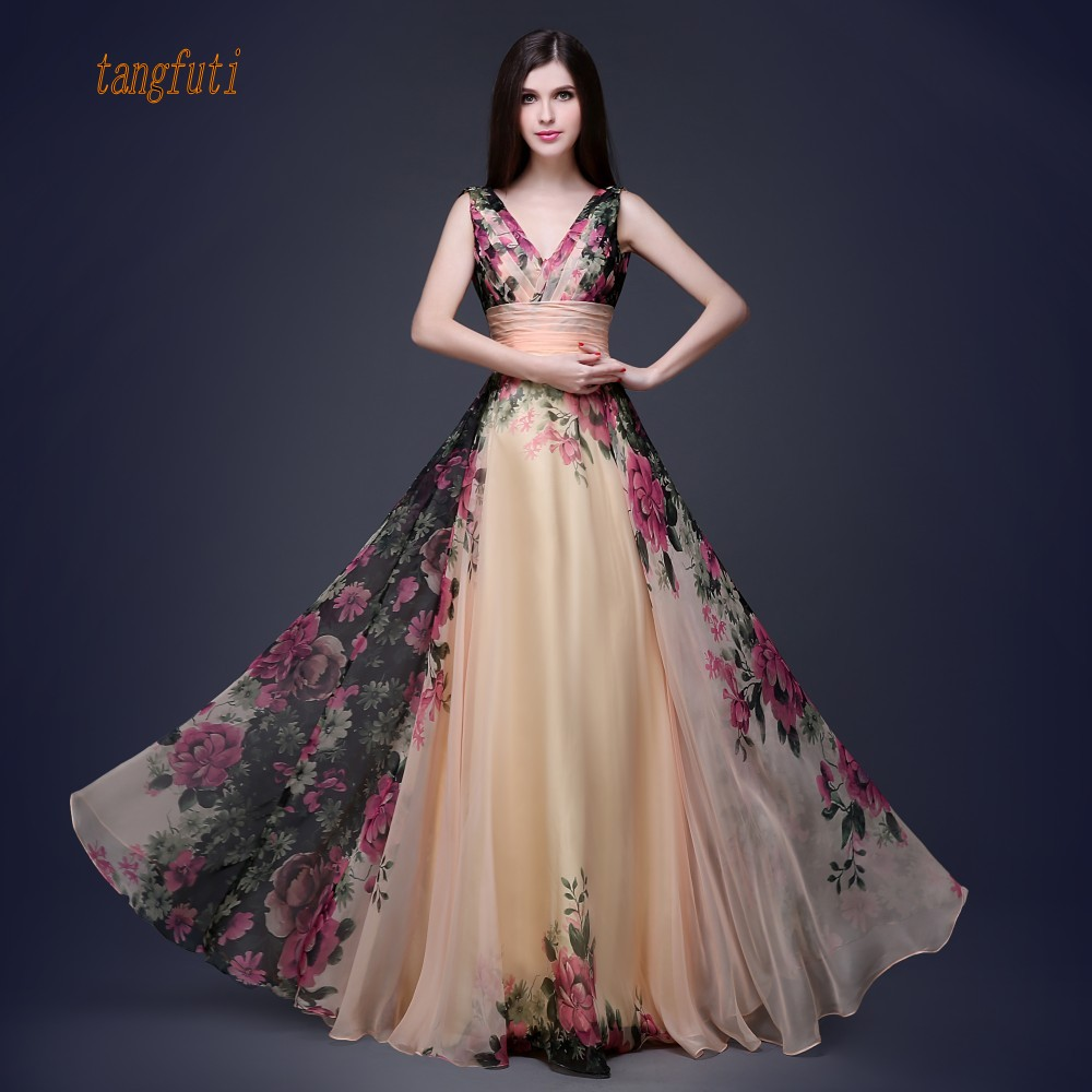 Long Evening Dress 2018 Floral Print Chiffon Evening Gowns A Line Long Formal Party Gowns