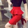 [ fotos ] 2015 nueva corea mujer faldas OL temperamento salvaje volantes faldas falda paquete