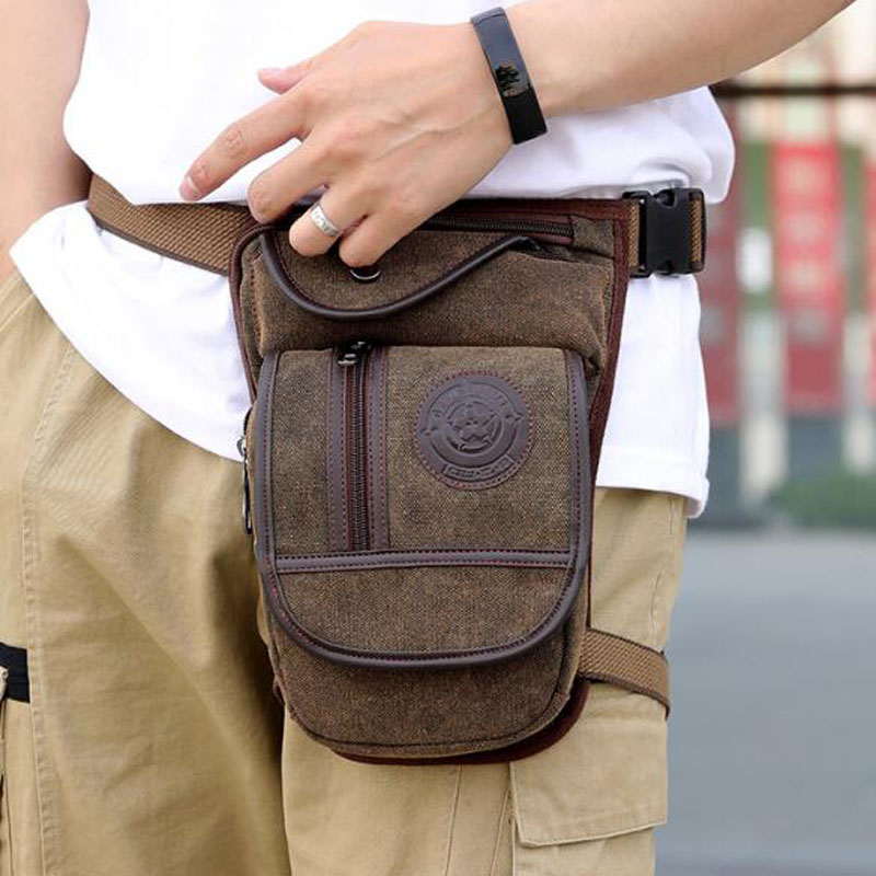 Canvas / Nylon Men's Drop Leg Bag For Men Waist Fanny Pack Belt Thigh Hip Bum Military Travel Motorcycle Messenger Shoulder Bag