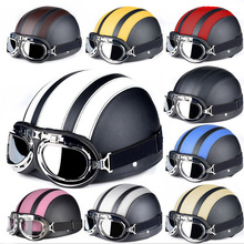 Hot selling Motorcycle Helmet Scooter Open Face with Visor UV Goggles Retro Vintage Style Motocross