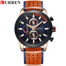 CURREN Brand Wristwatches Fashion New Arrival Calendar Casual Men Watches High Quality Leather Strap Chronograph Quartz watch high quality brand skmei new fashion casual silicone watches with japan quartz unisex wristwatches for men women gift wa3034