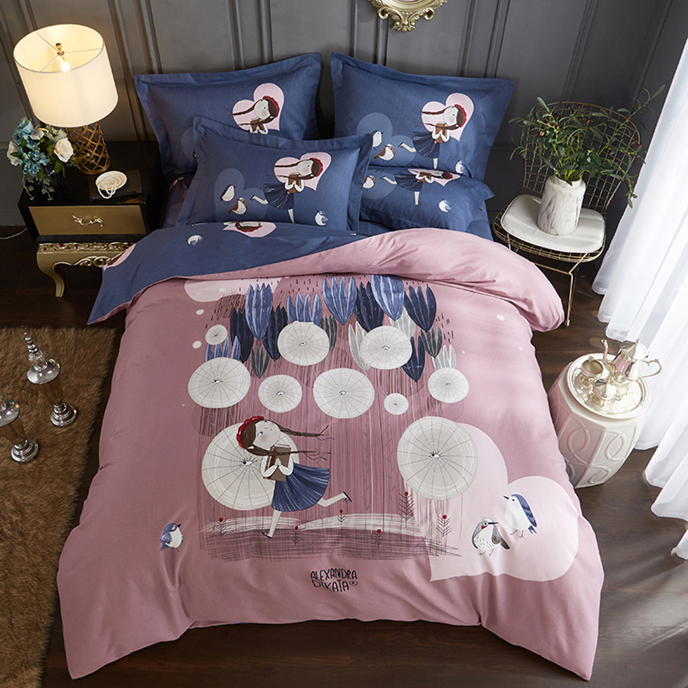 Papa&Mima a girl print sanding cotton bedding set Queen King size flat sheet pillowcases duvet cover sets Dropshipping bedlinensPapa&Mima a girl print sanding cotton bedding set Queen King size flat sheet pillowcases duvet cover sets Dropshipping bedlinens