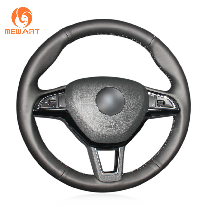 MEWANT Black Genuine Leather Steering Wheel Cover for Skoda Octavia 2017 Fabia 2016 2017 Rapid Spaceback 2016 Superb (3-Spoke) shining wheat genuine leather steering wheel cover for skoda octavia superb 2012 fabia skoda octavia a 5 a5 2012 2013 yeti