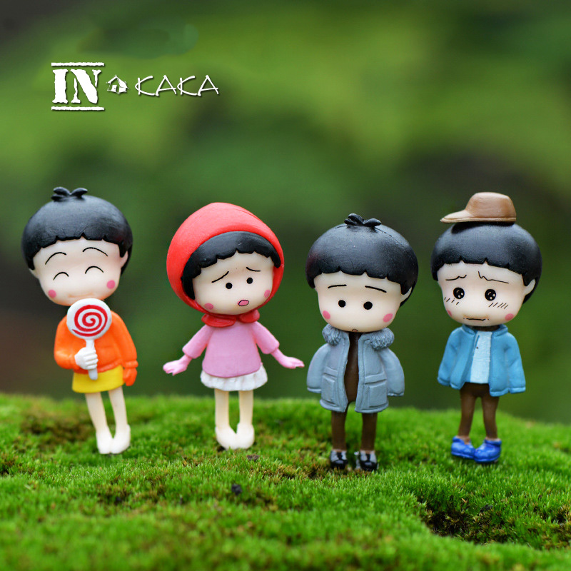 Cute Chibi Chi Bi Maruko Micro Garden Miniature Decoration Figurines Japanese Girls Anime Figures Toys