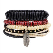 New Design Homemade Alloy Feather Bracelet Men Beads Wrist Band Cuff Leather Bracelet homme Red Wooden Beads Pulseras Muje(China)