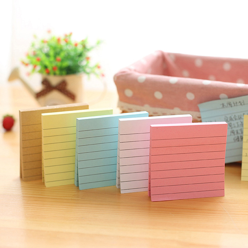 Kawaii Solid Color Kraft Block Memo Pad Paper Sticker Label Cute School Office Post Stationery Sticky Note Bookmark Marker Store