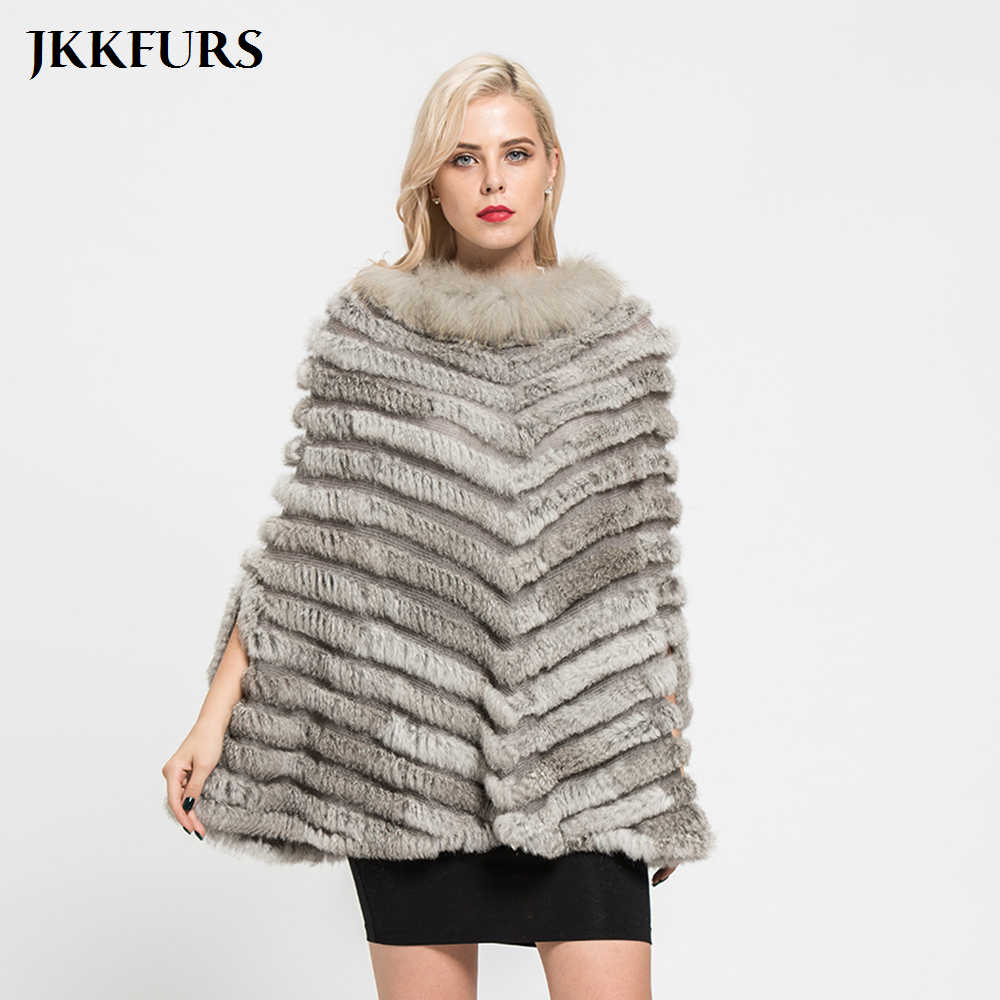 2019 New Arrivals Real Coelho Malha Poncho De Pele Natural Genuine Fur Winter Fashion Estilo Festa Xale Capes Feminino S7112