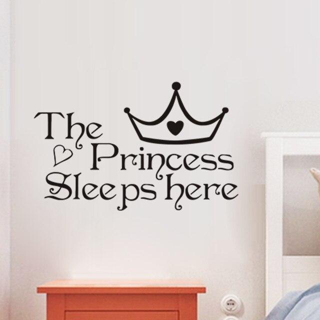 Die Prinzessin Hier Schläft Schlafzimmer Wandaufkleber Kinder Baby  Schlafzimmer Dekoration Kunst Decor Wandtattoos Für Kinder Zimmer