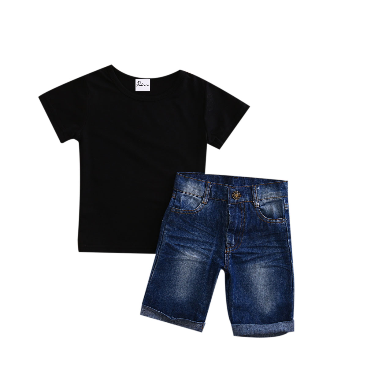 Black t shirt for toddler - 2pcs Toddler Baby Boys 2017 New Summer Short Sleeve Solid Black T Shirt Tops Short Jeans Set Kids Clothes Outfits