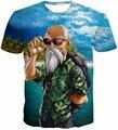 Chegada nova Engraçado Mestre Kame Hipster 3d T Shirt do Verão Camiseta de Manga curta Encabeça Homens/Mulheres Anime Dragon Ball Z Camisetas Homme