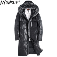 AYUNSUE Genuine Leather Down Jacket Men Winter Long Mens Sheepskin Coat Fox Fur Collar Chaqueta Cuero Hombre ML DAF89812 KJ1118