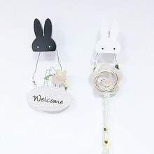 Cute bunny wooden clothes hook for kids room wall decorate children room ECO friendly rabbit hanger hook baby room decoration(China)