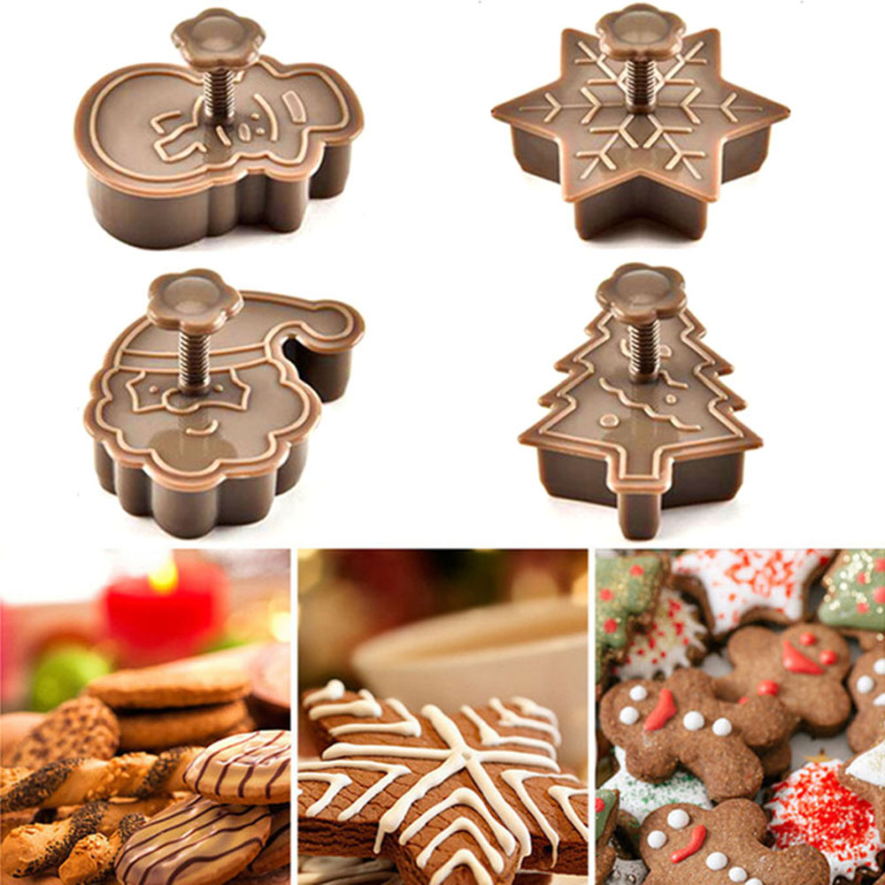 4Pcs DIY Christmas Tree Snowman Plastic Baking Mold Kitchen Biscuit Cookie Cutter Pastry Plunger Fondant Cake Decorating Tools
