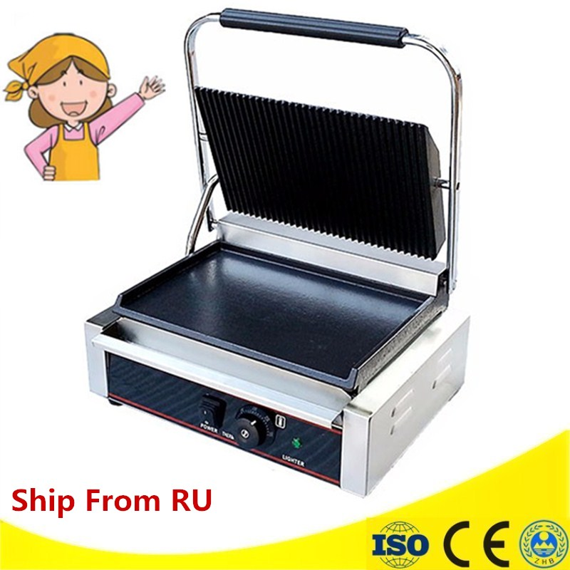 Commercial Electric Grill Griddle Stainless Steel Flat Pan Pancake Maker Grilled Squid Oven Teppanyaki Dorayaki Baking Machine three groups of kebab ovens commercial electric oven machine