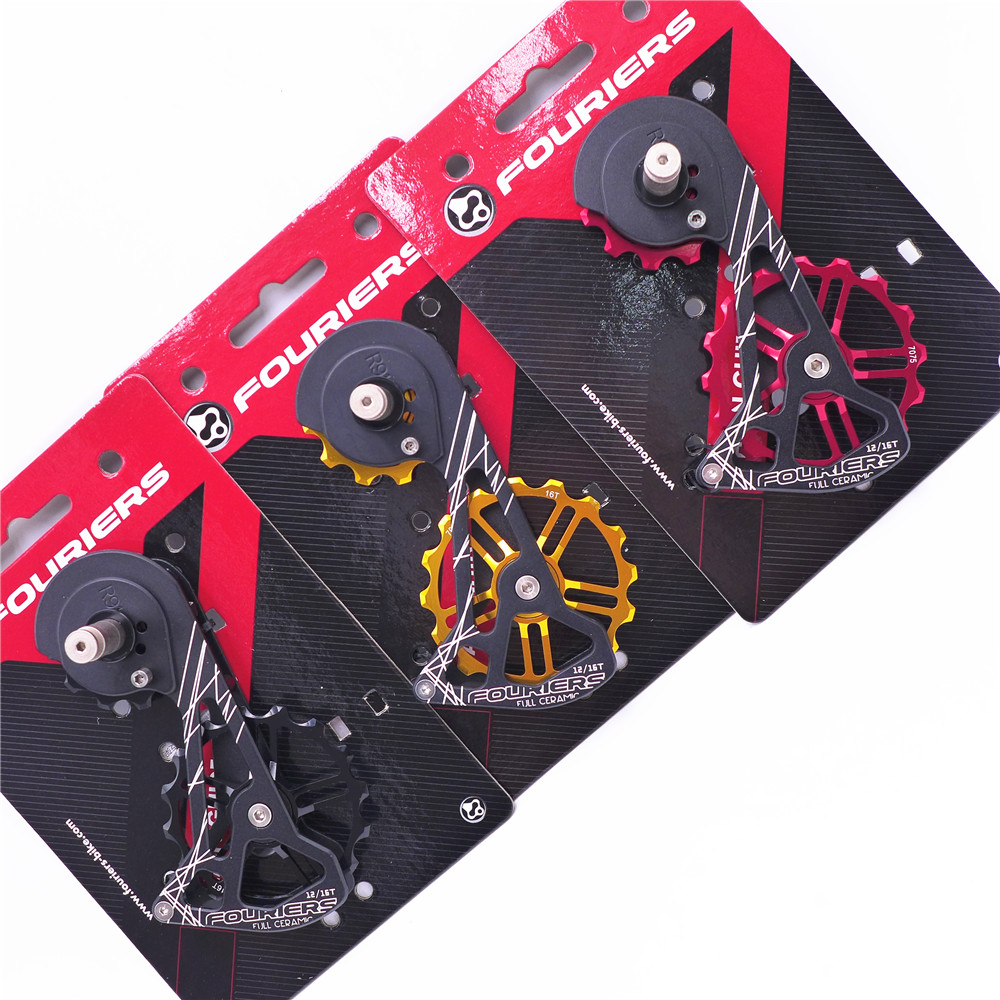 FOURIERS OSPW System For SHIMANO RD R9100 R9150 R8000 R8050 Red Black Oversized Pulley Wheel Ceramic