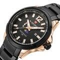 NAVIFORCE Mens Watches Top Brand Luxury Moon Phase Date Clock Male Steel Strap Casual Quartz Men Watch Men Sports Wrist Watches