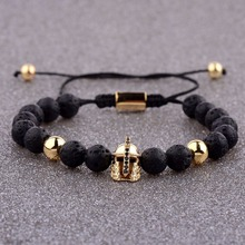 Amader 4 Colors 8mm Lava Stone Bead Zircon Bracelet Charm Men Roman Knight Spartan Warrior Gladiator Helmet Bracelets For Women цена в Москве и Питере