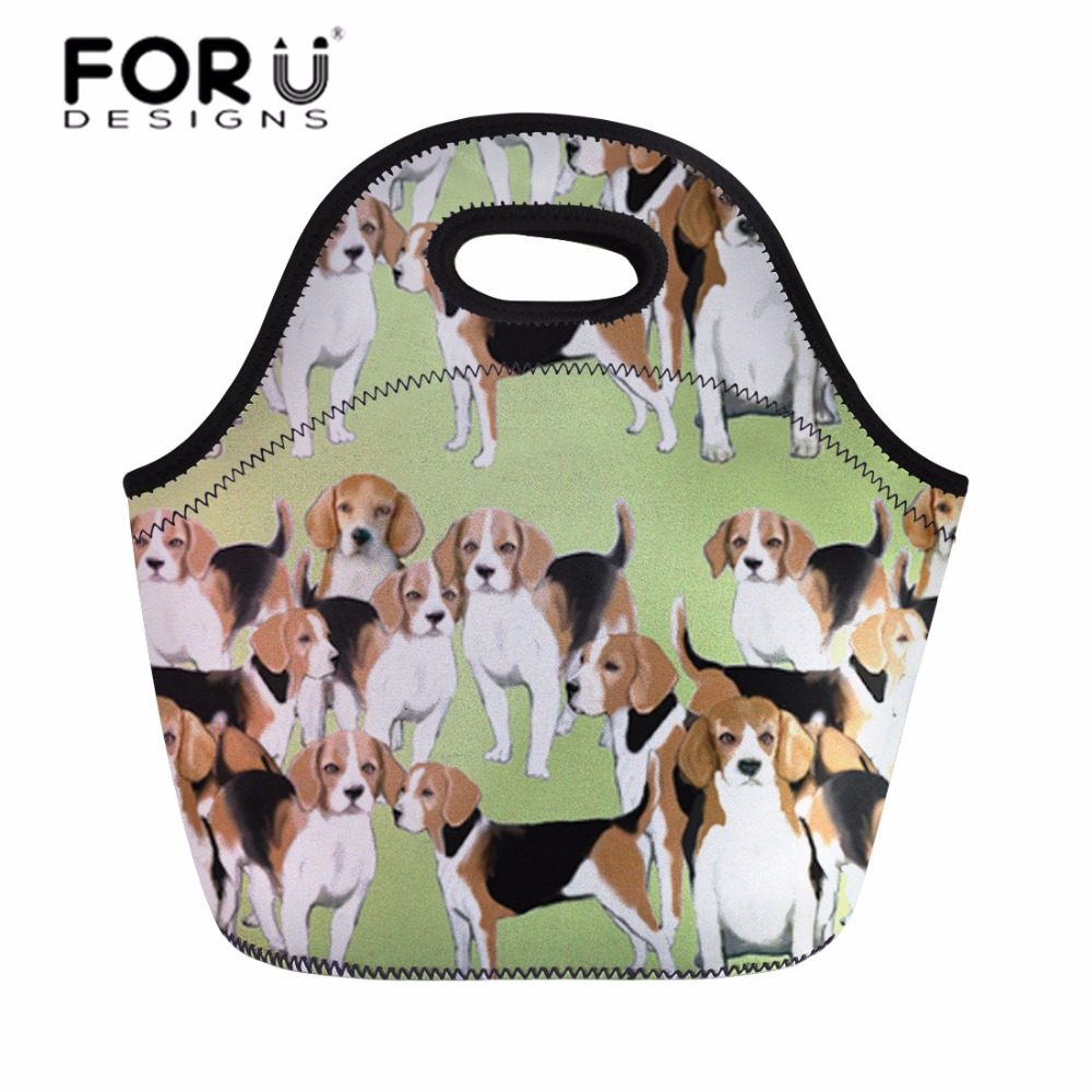 FORUDESIGNS Neoprene Lunch Bag Thermal Insulated Park Picnic Box for Kids Girls Cute Basset Hound School Food Fruit Tote Bags