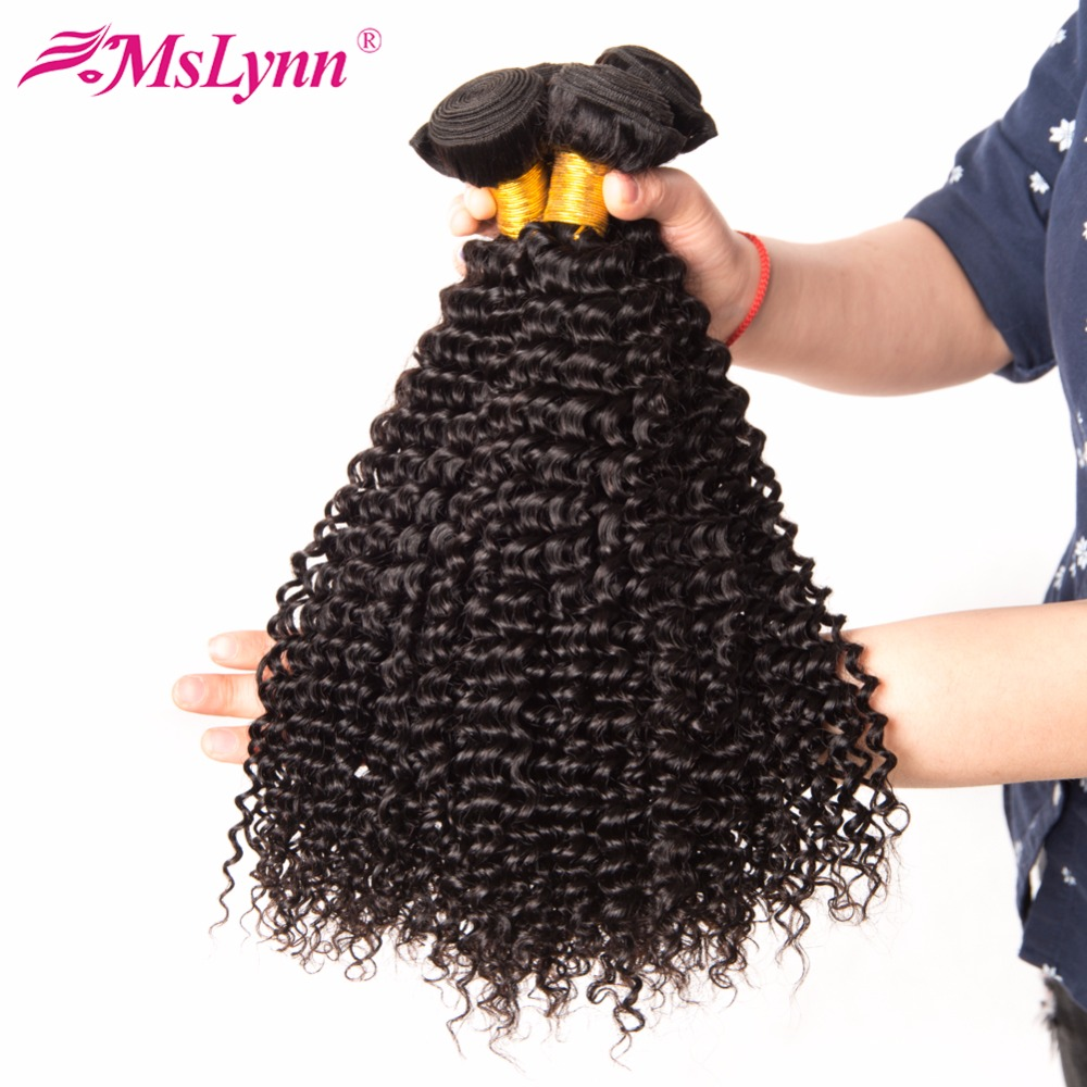 Mslynn Kinky Curly Hair Bundles Human Hair 10″-28″ Non Remy Hair Weave Malaysian Hair Bundles Natural Color Double Weft