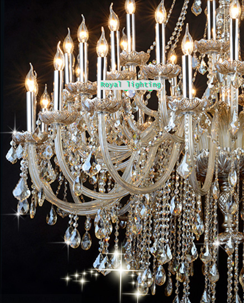 Big 45-arm high ceiling chandelier crystal droplight Hotel - Indoor Lighting - Photo 6