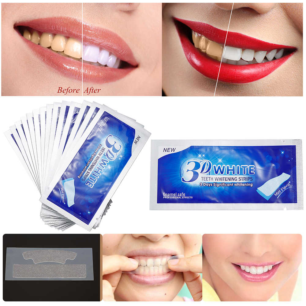 2pcs/Bag Professional 3D Teeth Whitening Strips Dental Bleaching Advanced White Gel Strips Oral Hygiene Care Dental Tools TSLM2