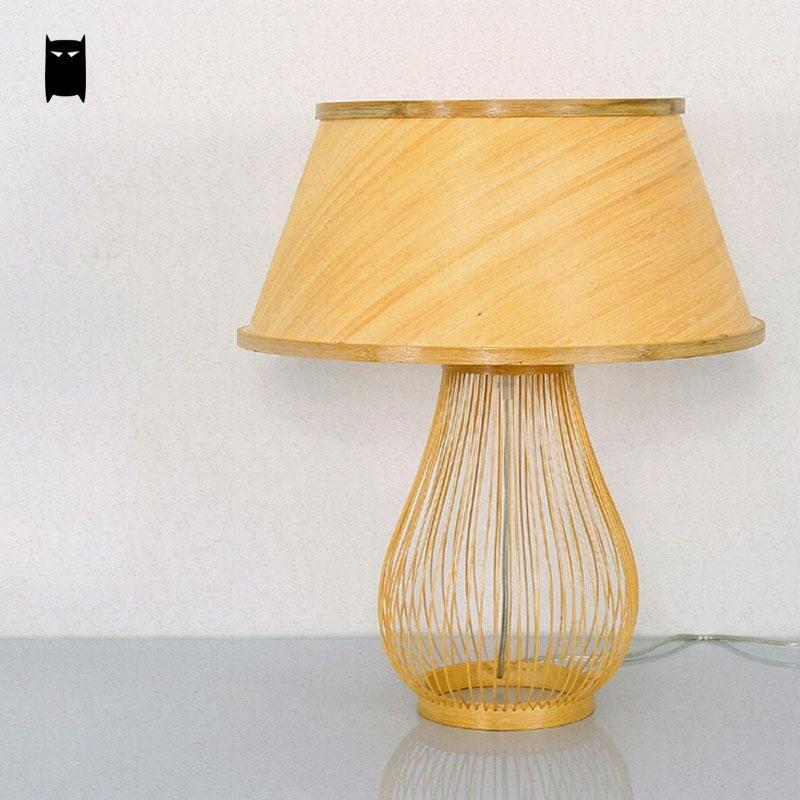 Bambou En Osier Rotin Ombre Champignon Lampe De Table Luminaire
