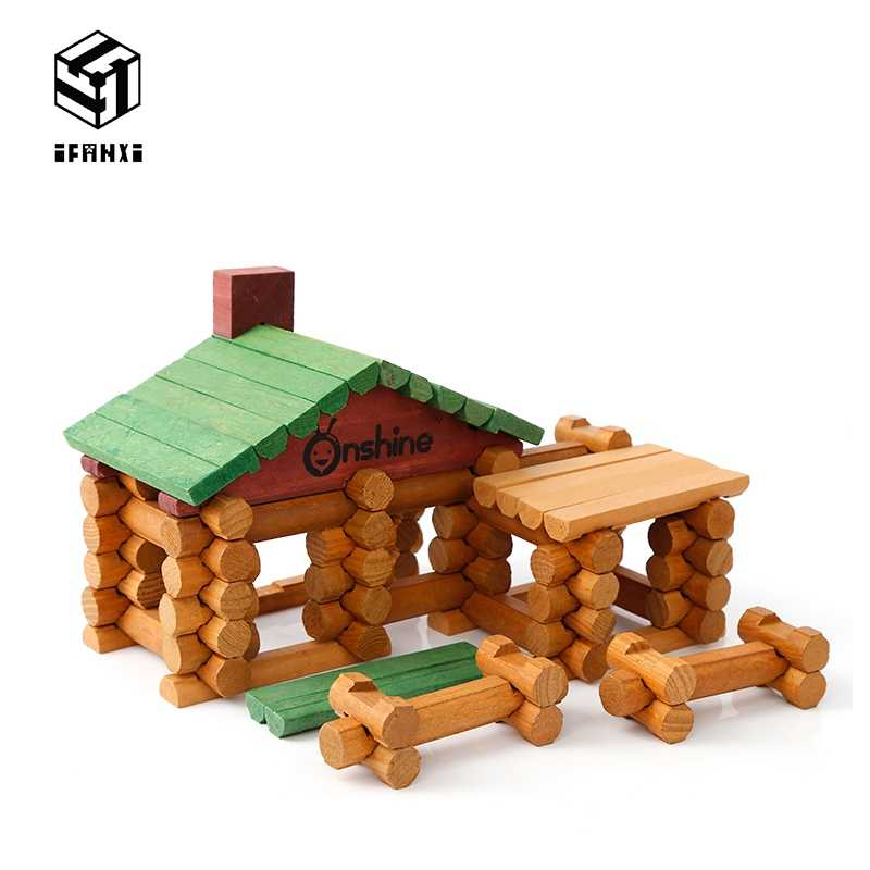 90 pz Baita Forestale Suite di Legno Lincoln Camera Modelli Creativi Building Blocks Incantesimo Apprendimento Precoce Giocattoli Educativi