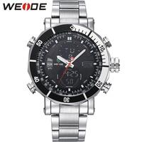 WEIDE Men Male Quartz Digital Sport Hour Watches Top Brand Luxury Stainless Steel Band Strap Clock Fashion Wristwatch drop ship