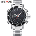 WEIDE Stainless Steel Wrist Watch Men Quartz Digital Multifunctional Dual Movements Watches With Original Paper Box Packaing