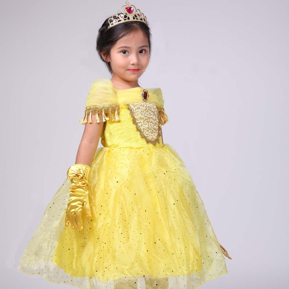 2017 New Pattern Girl Princess Beauty And Beast Dress Children Foreign Trade Tassels Paillette 2017 children summer wear girl s printing in europe and the united states foreign trade dress sleeveless flower princess dress