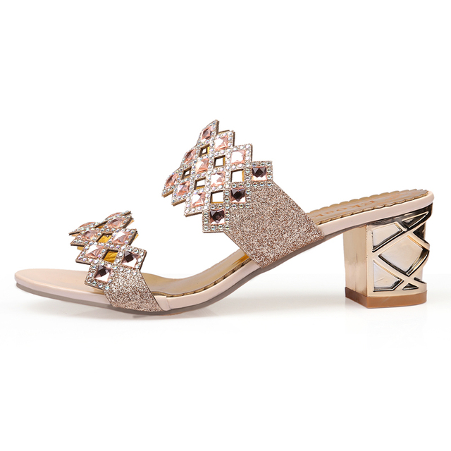 Ekoak 2017 Hot Fashion rhinestone cut-outs party women high heel sandals ladies summer shoes woman sandals Size 35-41