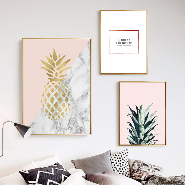 HAOCHU Modernen Minimalistischen Geometrischen Ananas Rosa Basis Leinwand  Malerei Schwarz Weiß Brief Wand Bild Für Wohnzimmer