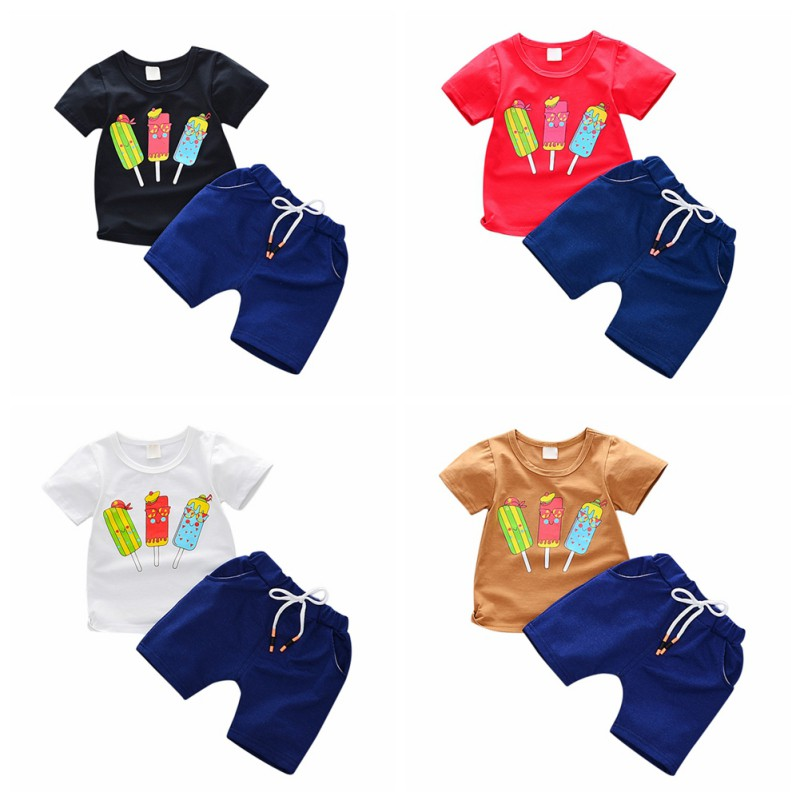 Summer T-shirt Baby Boy Clothes Set Cartoon T-shirt Tops Shorts Set Baby Clothes Beach Cotton Boy T-shirt Newborn kids clothes
