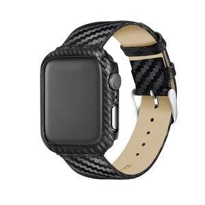 Image 3 - ブラックカーボン保護時計バンド 42 ミリメートル 44 ミリメートル 38 ミリメートル 40 ミリメートル腕時計用カバーiwatchシリーズ 5 4 3 2 1 ストラップ