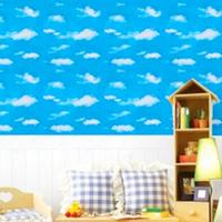 0.45 x 10M PVC White Clouds Blue Sky Prepasted Self adhesive Contact Wallpaper Home Decor