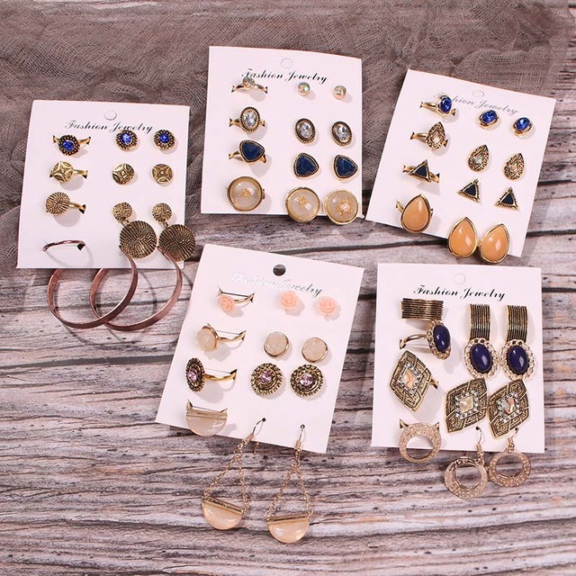 Lalynnly 6 Pairs/Set Vintage Punk Metal Stud Earrings Set Ethnic Square Oval Opal Earrings Female Statement Brincos Jewelry Hot