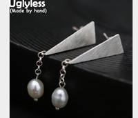 Uglyless Real S 990 Silver Fine Jewelry Ethnic Triangle Dangle Earrings Natural Pearl Chains Tassel Brincos Bijoux Exotic Dress