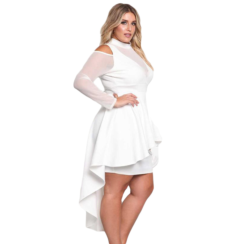 US $26.8 40% OFF Long Sleeves Dress Hollow Out Autumn Big Ladies Party Plus  Size Black White High Low Collar Bodycon Above Knee Mini Dress-in Dresses  ...