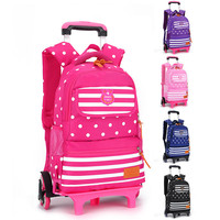 2 6 Wheels Removable Rolling Backpack Bags For Teenagers Children Trolley School Bag Kids Wheeled Backpacks