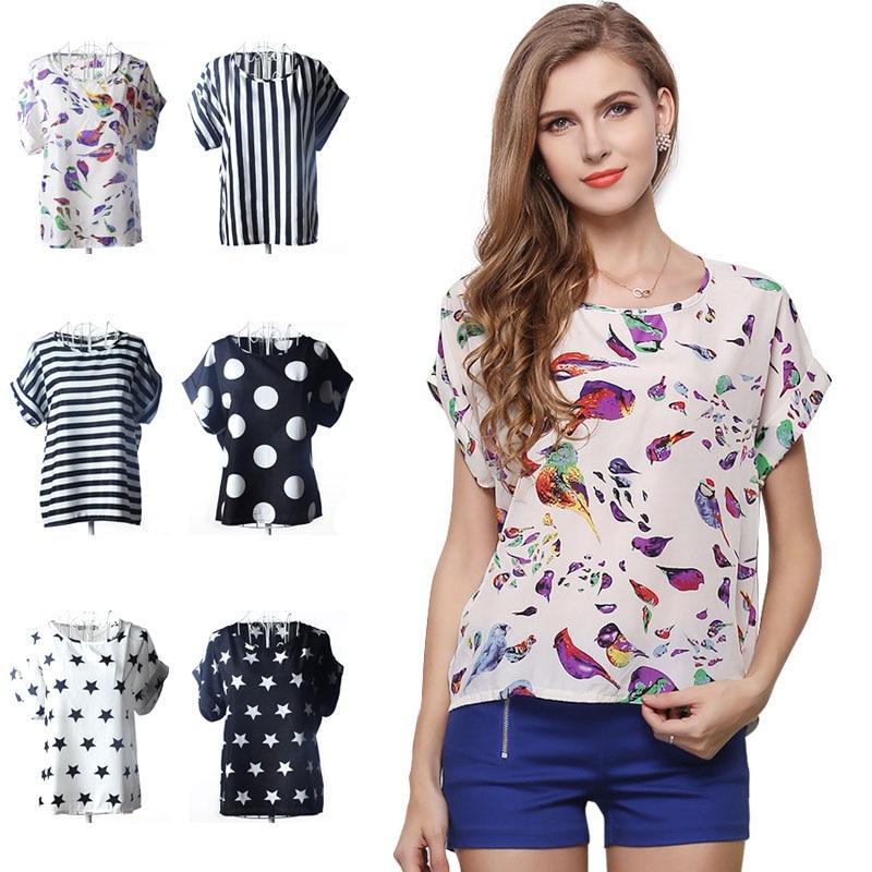 Summer Women Shirts Chiffon Printed Blouse Short Sleeve Tee Lady Girl Loose Casual Tops FS99