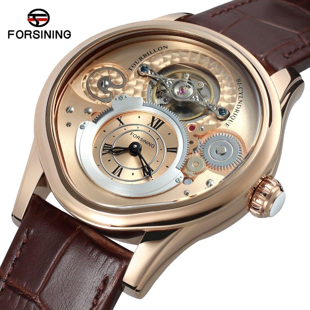 Металлический корпус пояса из натуральной кожи группа Forsining автоматические часы для мужчин деловые Элитный бренд бизнес Relogios masculino