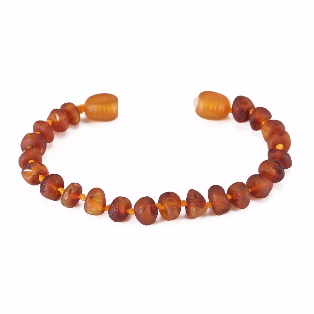 Raw Amber Stones Teething Bracelet for Baby(Cognac Raw) - 2 Sizes - Lab Tested